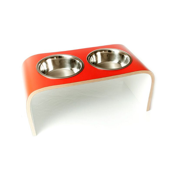 double bowl feeder red white matt